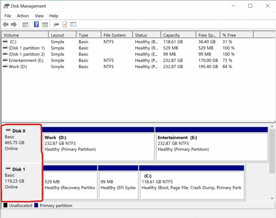 Check if your PC has SSD using Disk Management