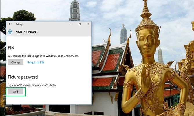 How to change Password in Windows 10 to a Picture Password