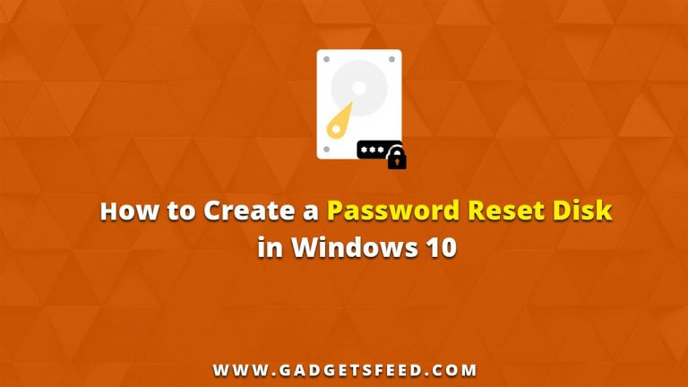 how to create a password reset disk in windows 10