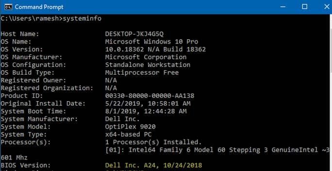 How Old is My Dell Laptop using Command prompt