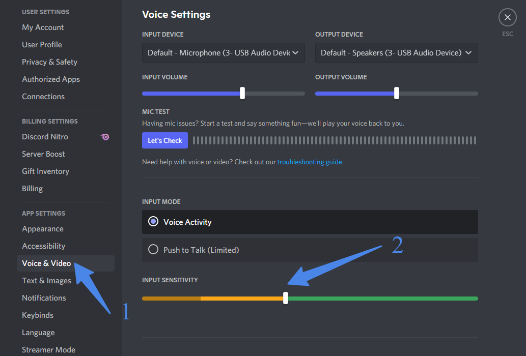 Voice and Video in discord for microphone sensitivity control