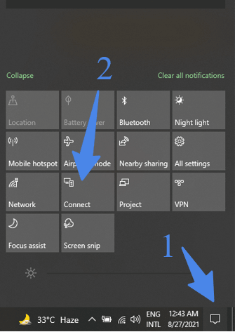 action center of windows 10