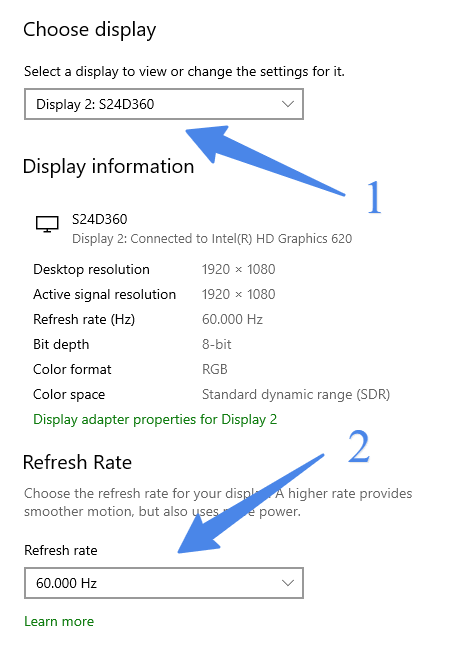 change refresh rate of display in dual monitor setup