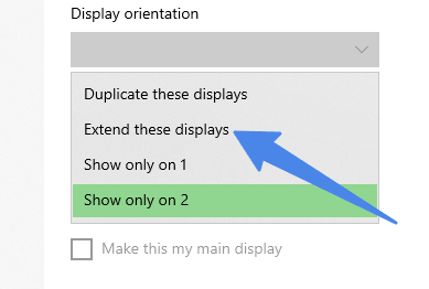 extended display option in windows 10