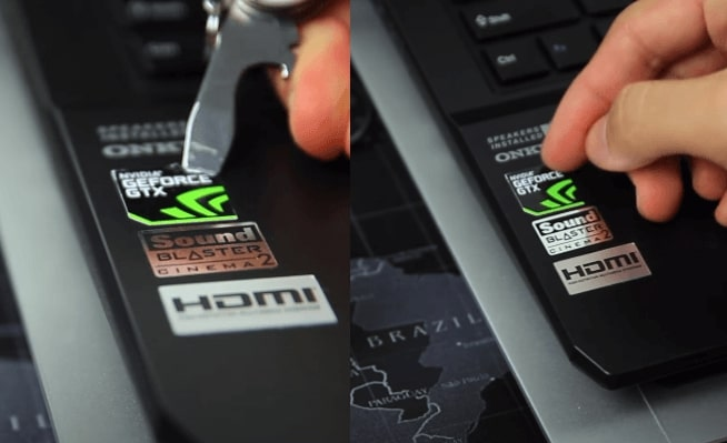 Peel off the sticker from the Laptop surface